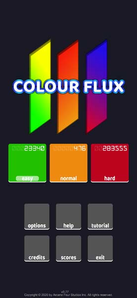 colour flux mobile game title screen